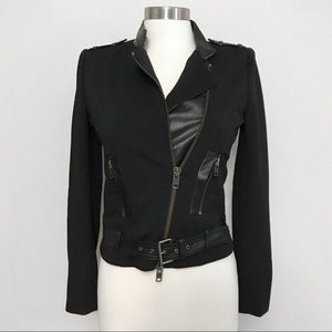 Rachel Zoe Leather Military Zip Moto Biker Jacket